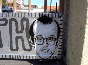 Peat Wollaeger, Keith Haring Stencil and tribute at Collingwood Technical College