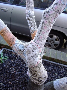 Crochet covered tree in Gertrude St.
