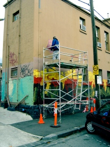 Artist at work in Fitzroy