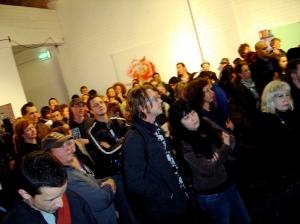 Stencil festival crowd listening to speeches