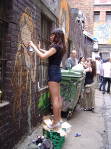 Debs painting in Croft Alley