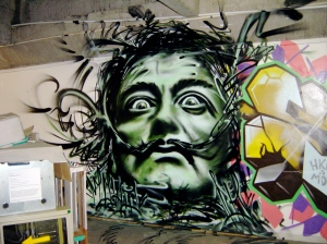 Dali in aerosol in the Collingwood Underground