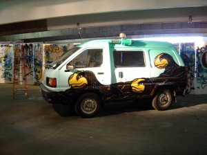 Van painted during the Stencil Festival