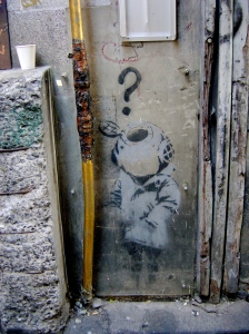 "Now destroyed Banksy's  ""Little Diver"""
