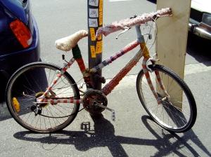 Yarn bombed bicycle Collingwood