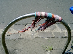 Yarn bombed bike parking