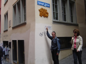 Outside the Cabaret Voltaire in Zurich