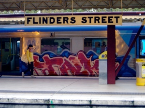 Flinders Street with painted train