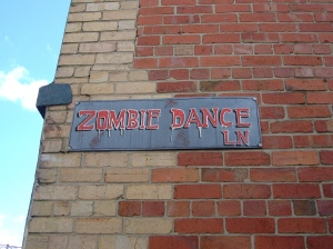 Zombie Dance Lane sign