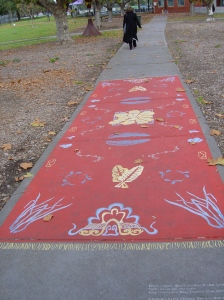 Kitty Owens and Mary Zbierski 'Magic Carpet' (Ghost Chinese Market Garden) pavement painting Coburg