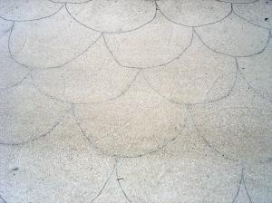 Fish scale pattern on concrete, Ilham Lane