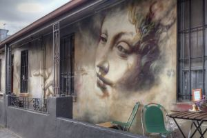 Adnate of the AWOL crew on wall in Rose St. Fitzroy