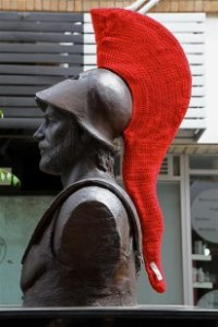 King Leonidas yarn bombed (photo courtesy of Lorraine Ellis.)