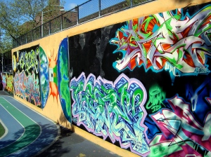 Reverse side of the Graffiti wall of fame, Harlem, NYC