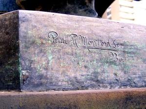 Montford's signature on base of Judge Higgenbothen Memorial