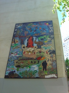 Melbourne: Two Worlds a painting by the Wurundjeri Council