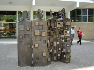 Micheal Menzaros, The More We Know, bronze, 2013, Melbourne University
