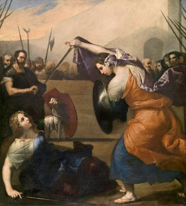 Jusepe de Ribera, Spanish c.1591–1652, worked in Italy c.1611–1652, Women gladiators fighting (Donne gladiator combattenti) 1636, oil on canvas, 235.0 x 212.0 cm, Museo Nacional del Prado, Madrid (P01124) Spanish Royal Collection