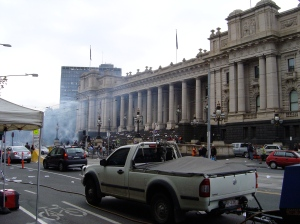 Something apocalyptic happening at State Parliament when used as a film location