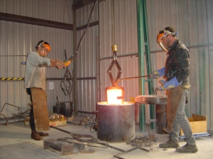 Removing crucible from furnace