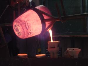 Bronze pouring into cast